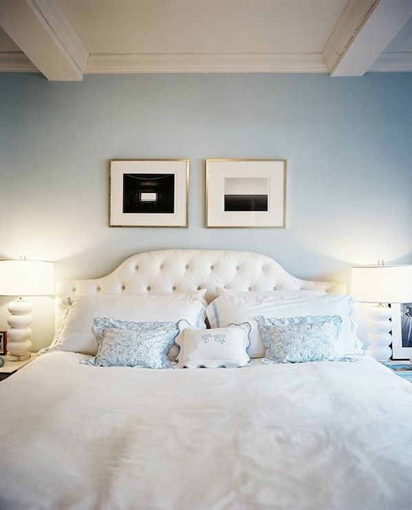 I COULD SLEEP HERE FOREVER!!Soft, serene blue bedroom design with