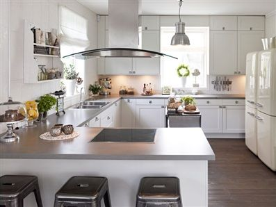 Grey bench top matched with white cabinets. | Dream Home ...