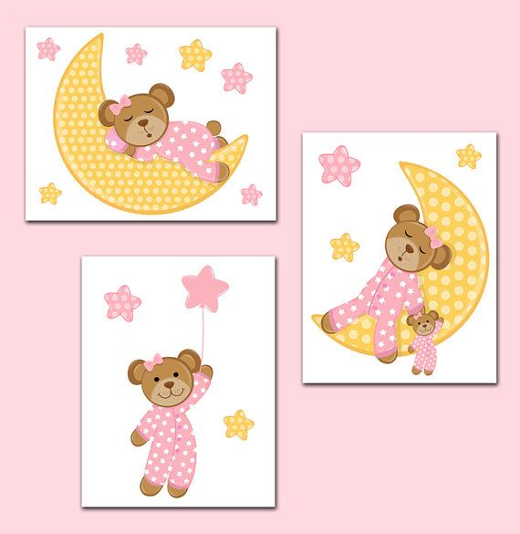 GIRL NURSERY PRINTS Wall Art or Decals Pink Teddy Bear ...