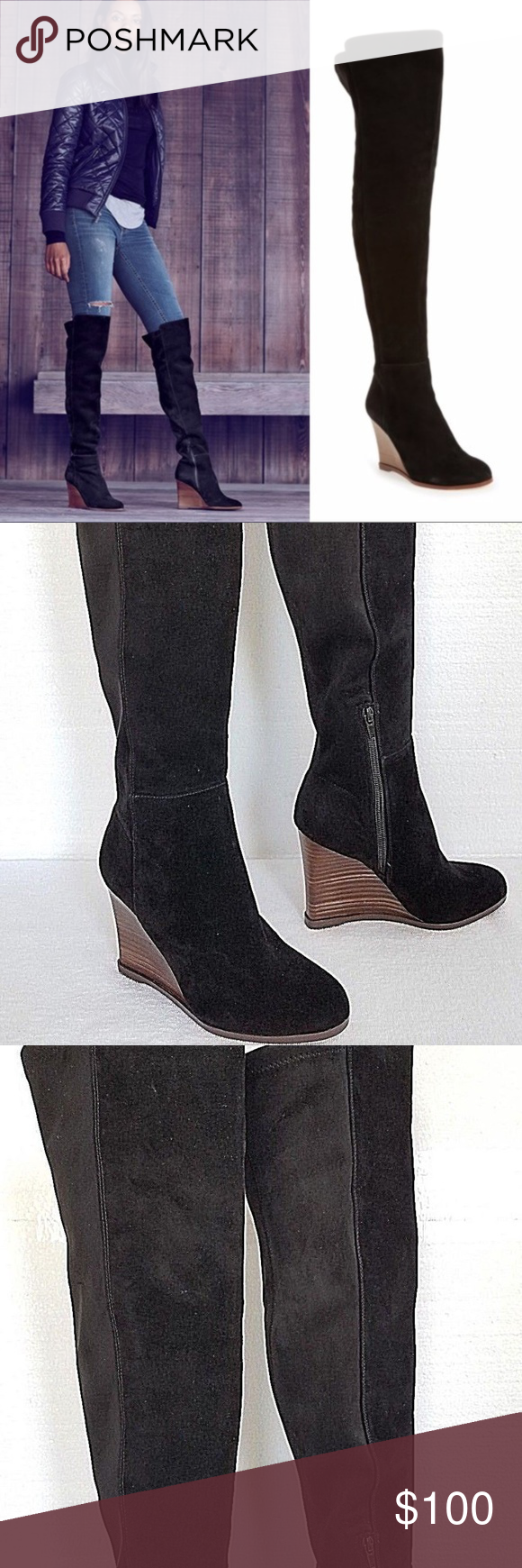 6eb534960ea Vince Camuto Granta Tall Wedge Boots Black 6M NEW Vince Camuto Granta  Women s Tall Boots Over