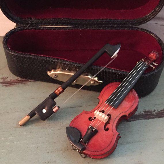 Dolls House miniatures échelle 1//12ème String Musical Instrument Violon /& cas