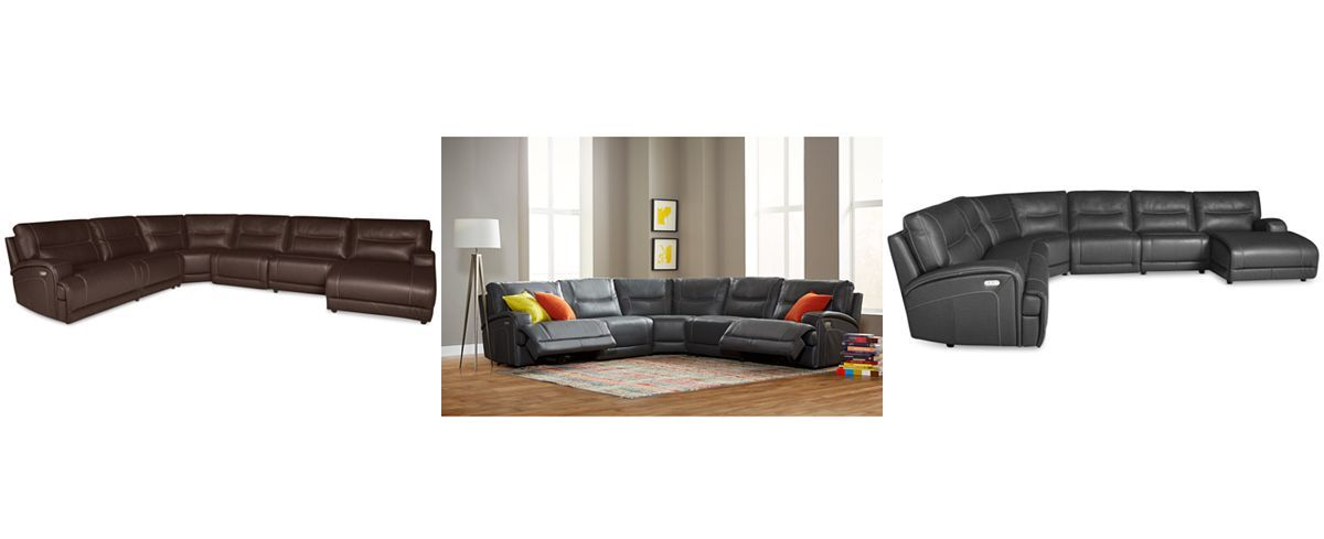 Caruso Leather 6 Piece Power Motion Chaise Sectional Sofa Couches