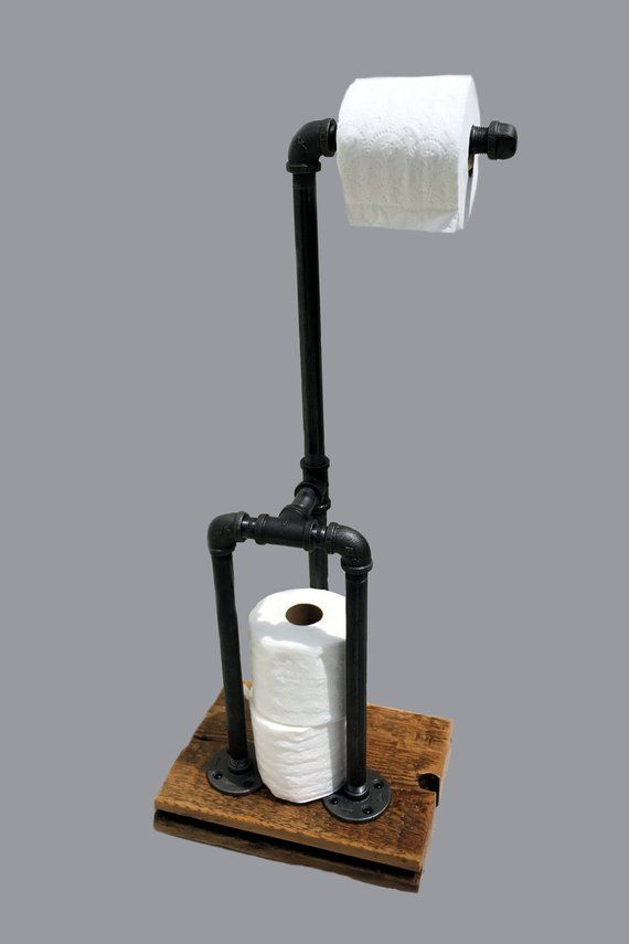 Toilet paper holder Stand - toilet paper stand rustic toilet paper holder iron pipe  industrial mode #metalbuildinghouses