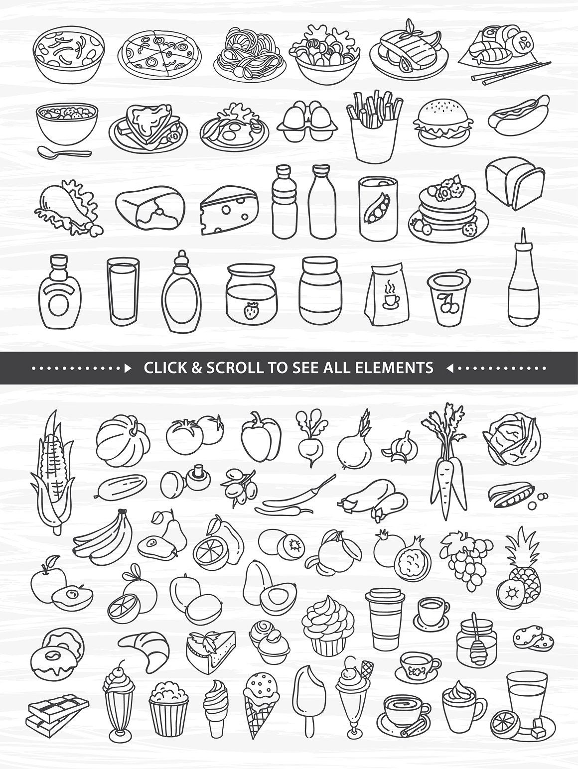 76 Hand Drawn Food Elements Background Individual Format