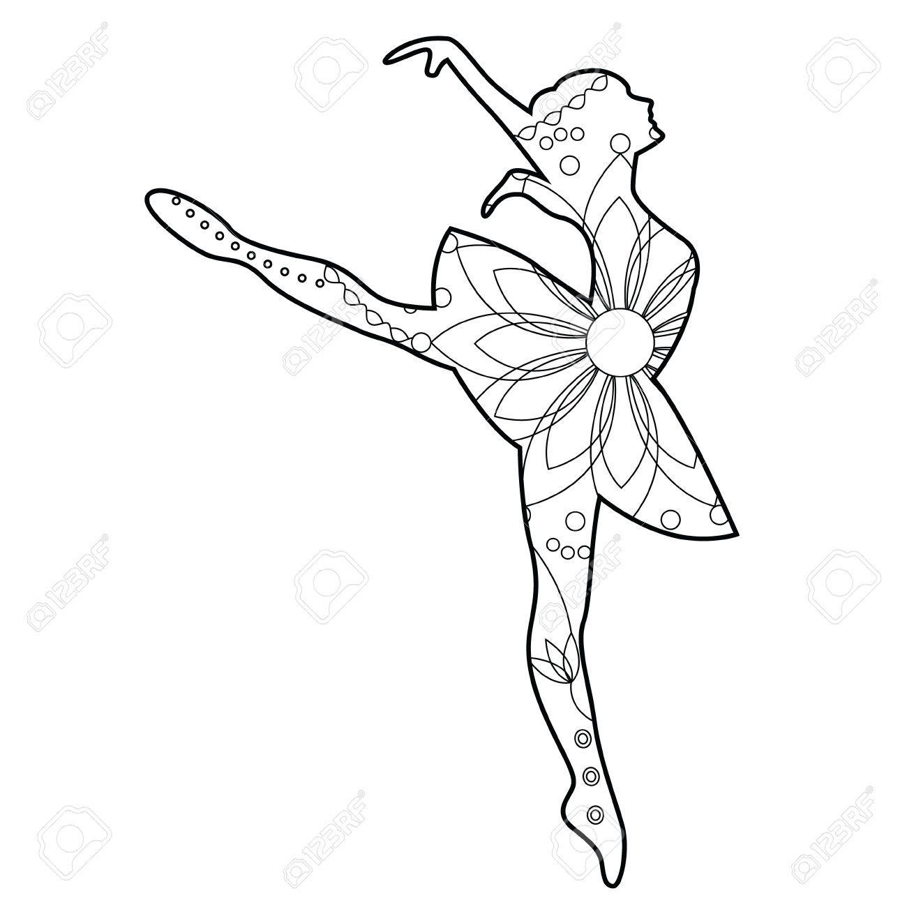 Vector Bailarina De Ballet Para Colorear