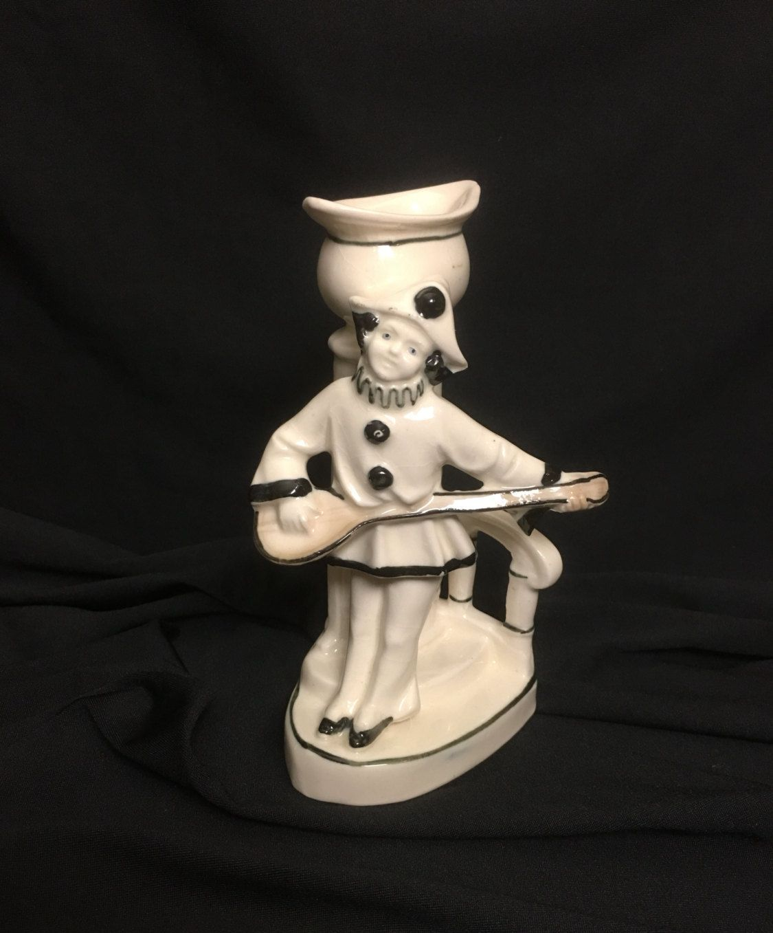 Ceramic white and black pierrot clown with lute vase by
