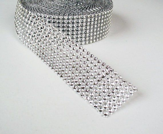 Birthday Decorations 2 Rolls, Silver Baby Shower Events Arts and Crafts Projects Suhome 1 Roll 4 Row 10 Yard and 1 Roll 8 Row 10 Yard Acrylic Rhinestone Diamond Ribbon for Wedding Cakes