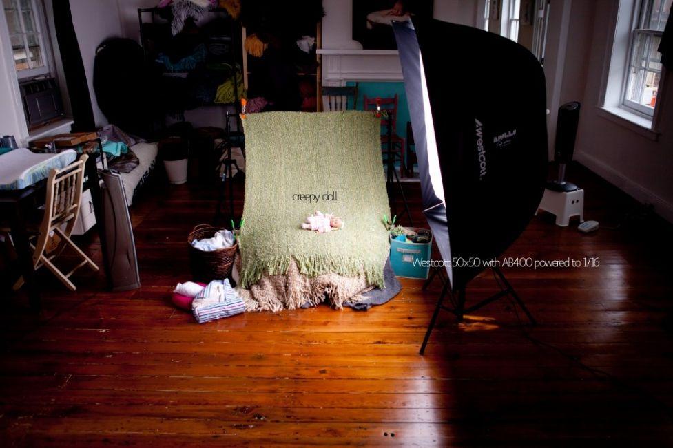 Newborn studio setup with soft box