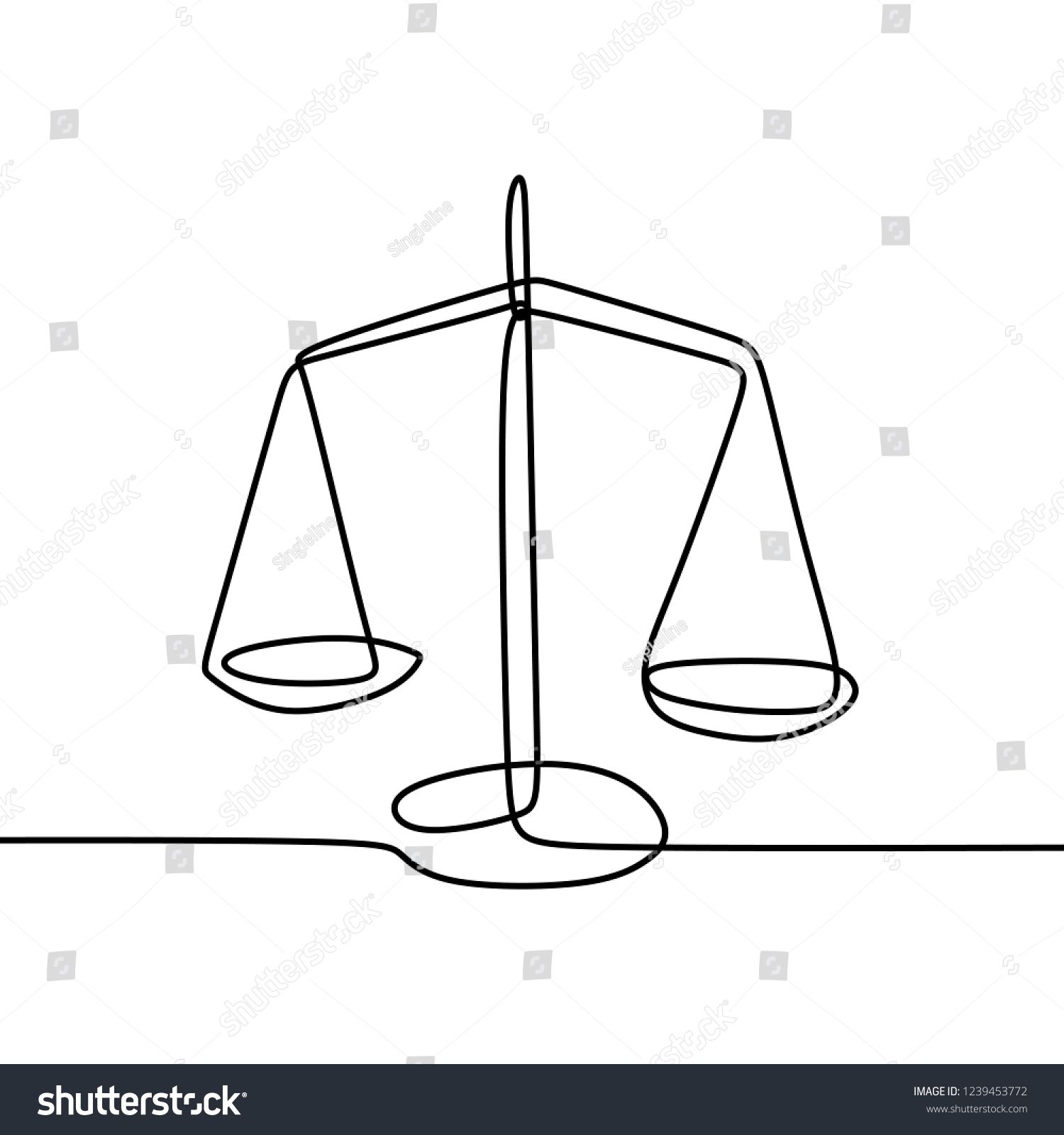 Weight Balance Symbol Libra Or Law Identity One Line Drawing Style Vector Illustrationlibra Law Symbol We Balance Tattoo Hand Embroidery Art Line Art Drawings
