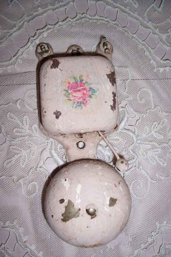 Beautiful Antique Pink Doorbell Vintage Architecture Vintage Enamelware Shabby Cottage
