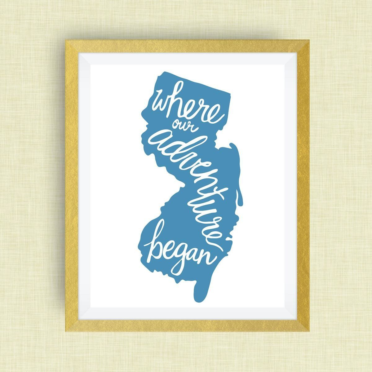 New Jersey Art Print Where Our Adventure Began (TM