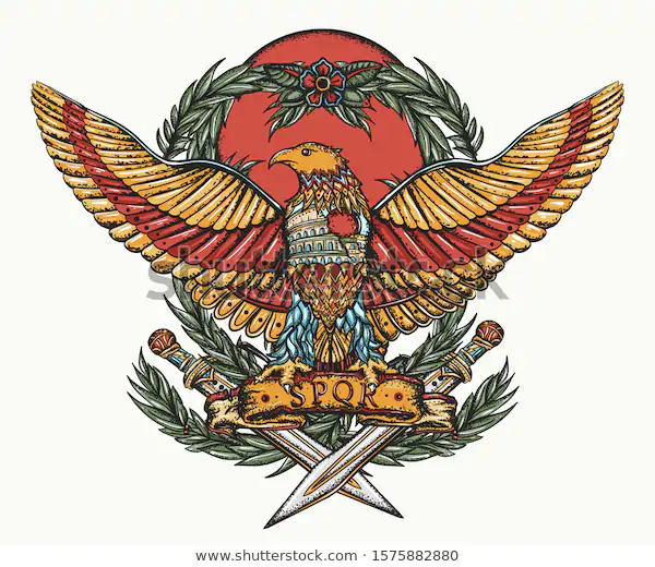 Roman Empire Imperial Eagle And Crossed Swords History Of Italy Ancient Rome Art Color Tattoo And T Shirt Design Roman Empire Rome Art Italy History