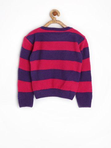 Myntra FS Mini Klub Girls Pink & Purple Striped Sweater 1019151 ...