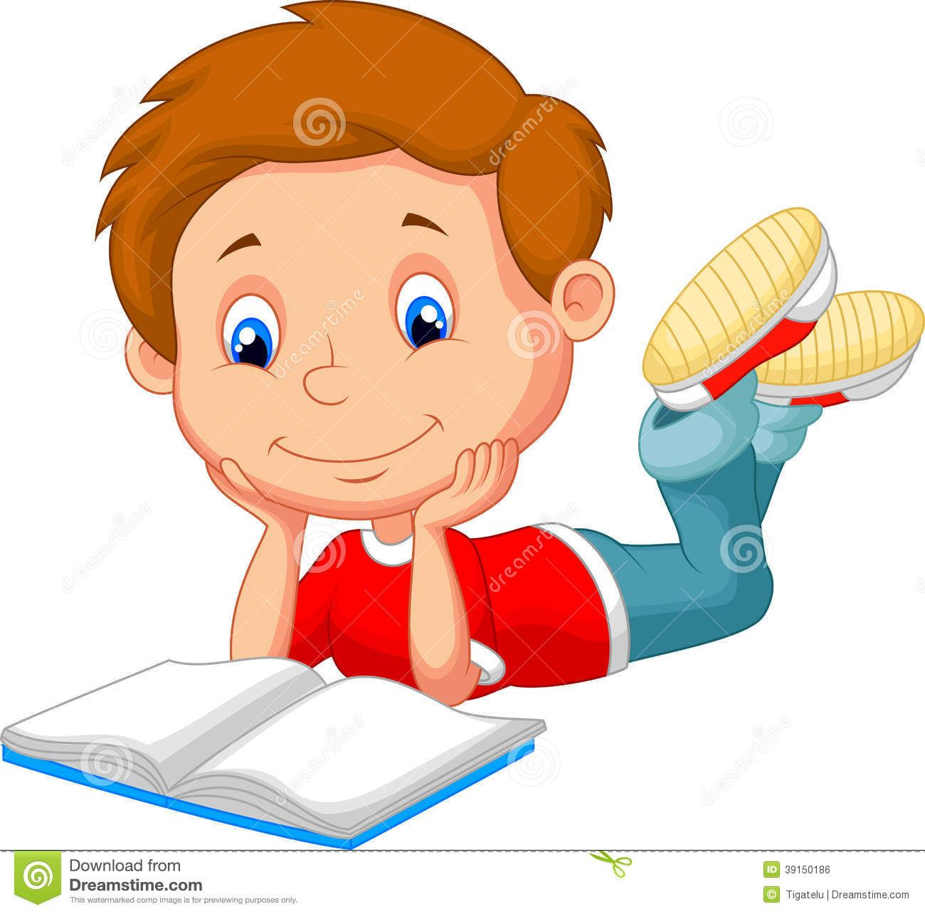 Cartoon Boy Reading A Comic Book Royalty Free Stock Photo
