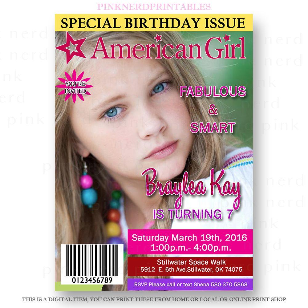 American Girl Birthday invitation Magazine Cover | Girl Birthday ...