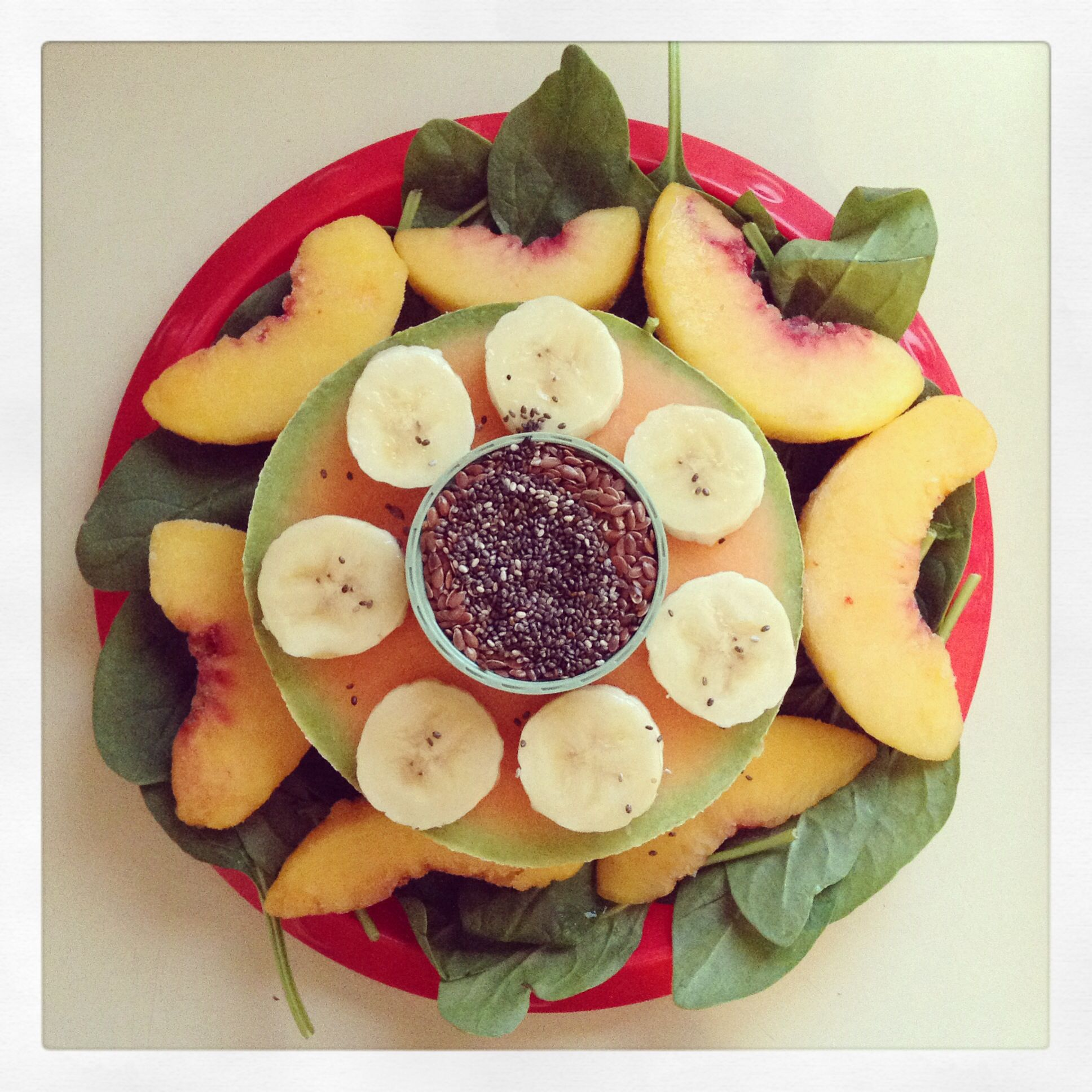 Green Smoothie: Baby Spinach, Banana, Cantaloupe, Frozen Peaches, Chia Seeds, Flax Seeds, and Water -Drea