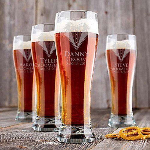 personalized groomsmen pilsner beer glasses set of 9 engraved