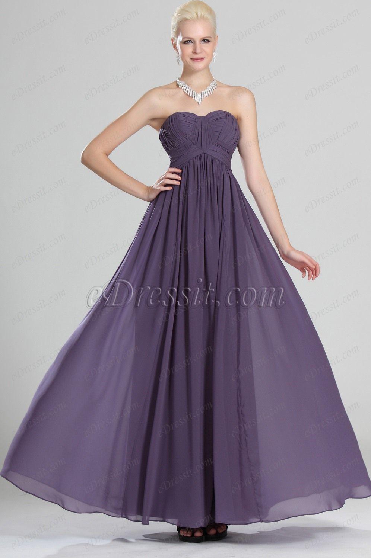 eDressit Sweetheart Neckline Strapless Purple Evening Dress ...
