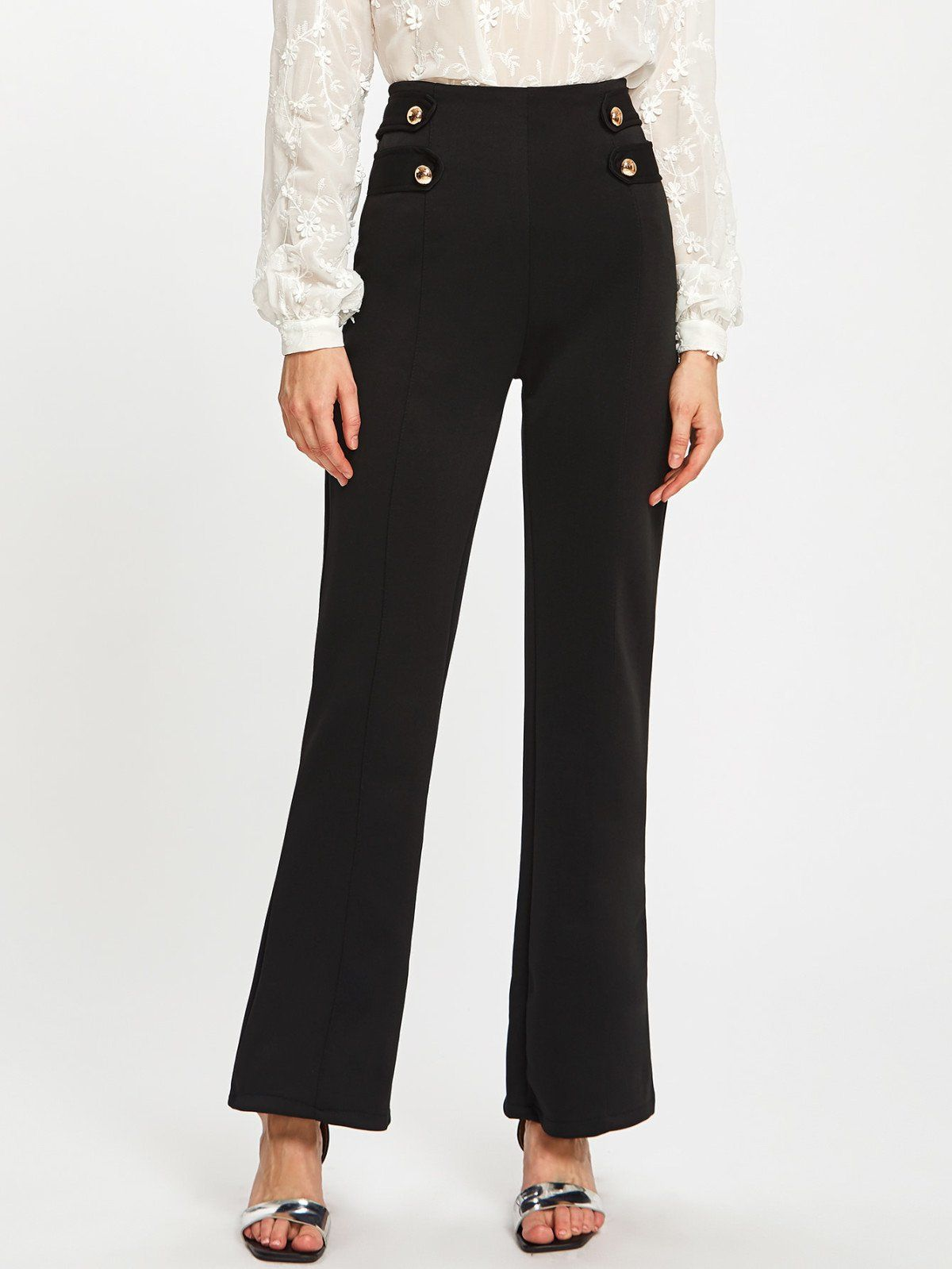 Long Zipper Fly. Straight Leg Decorated with Button. Loose fit. High Waist. Plain design. Trend of Spring-2018, Fall-2018. Designed in Black. Fabric has some stretch.