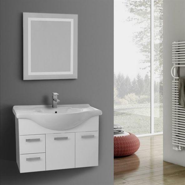 Bathroom Vanity, ACF PH70, 32 Inch Wall Mount Glossy White Bathroom