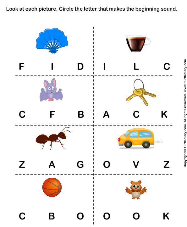 Identify the beginning sound of words TurtleDiary – Initial Sound Worksheets for Kindergarten