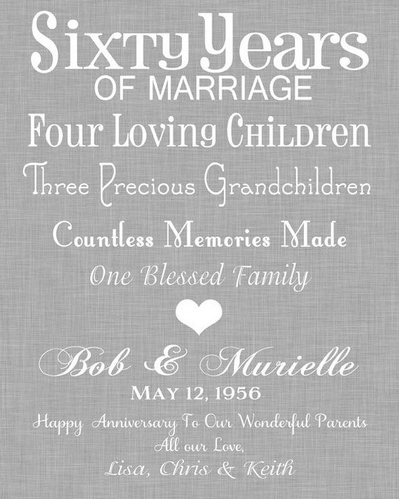 60th Anniversary Gift For Grandparents Wedding Timeline Print 60 Years Of Marriag