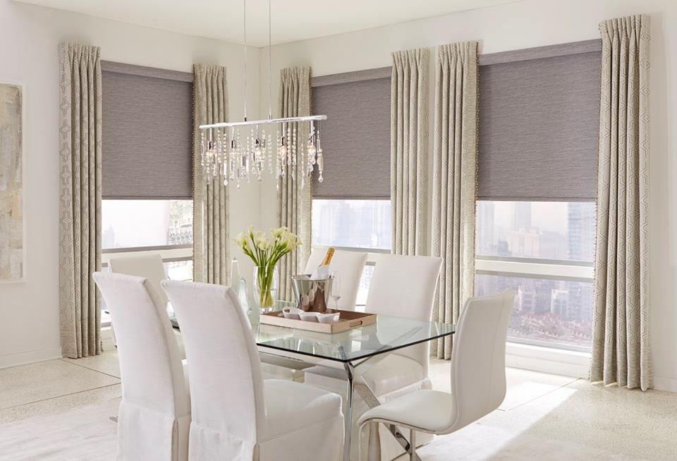 Stationary Pinch Pleat Draperies With Roller Shades Blinds For