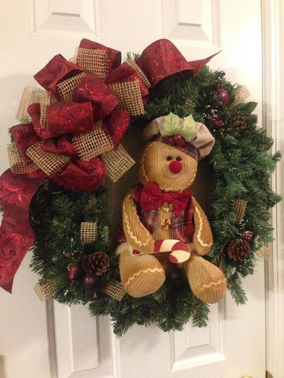 gingerbread man christmas wreath by southernsassstyle on etsy 5500