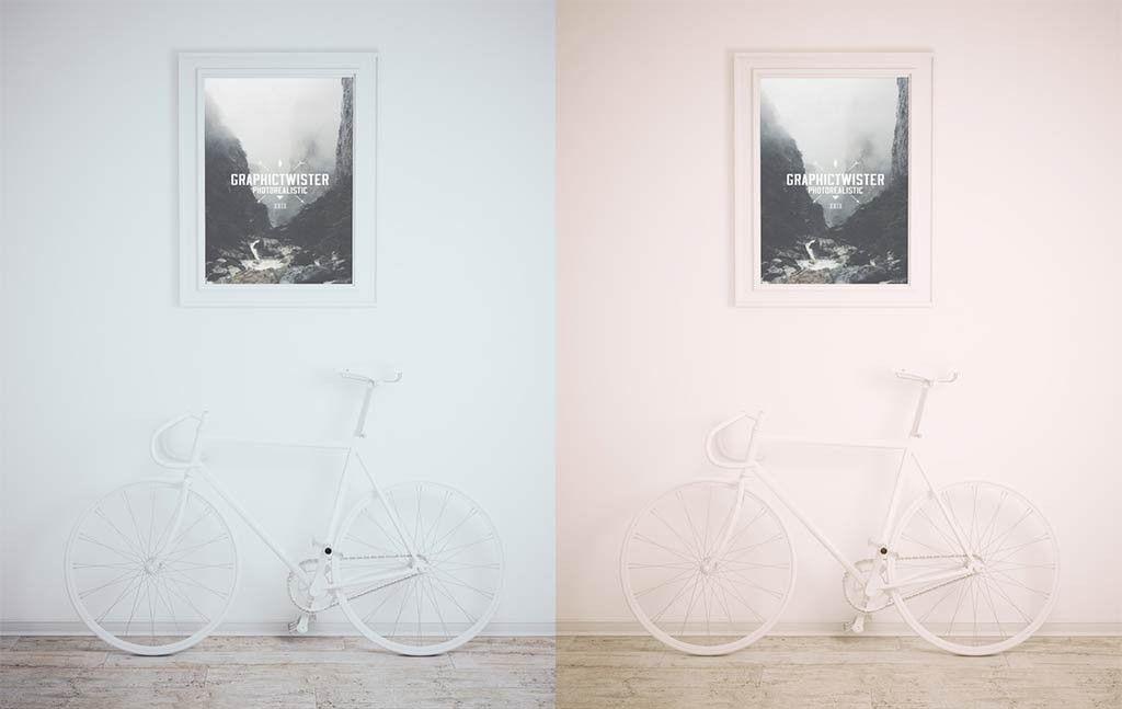 Download Framed Picture With Bike Mockup Mockupworld Free Photo Frames Picture Frames Frame Mockups