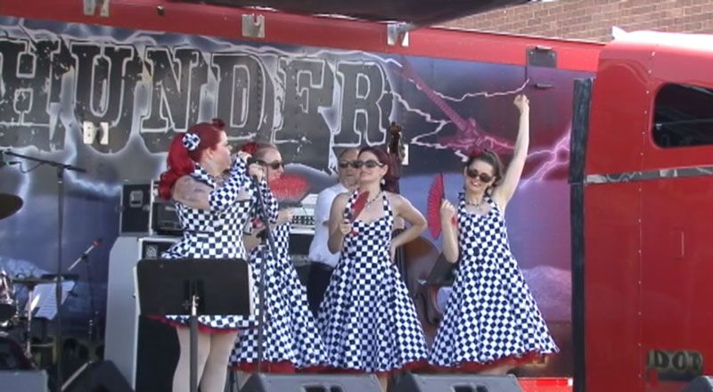 Cora Vette and the Chevettes at OMeara Ford 100th Anniversary Its O'Meara Ford's 100th Anniversary Party and on the stage is Cora Vette and the Chevettes band.