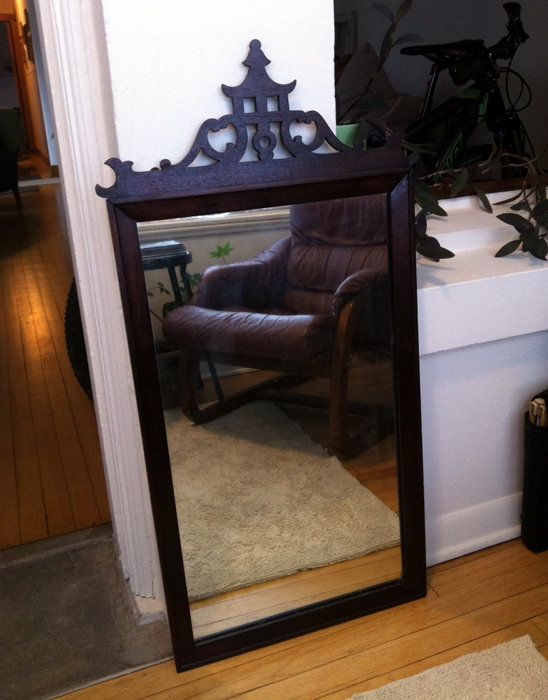 Dark Stained Wood Mirror $125 http://classifieds.apartmenttherapy.com/posts/35747-vintage-stained-wood-mirror?rf=67168