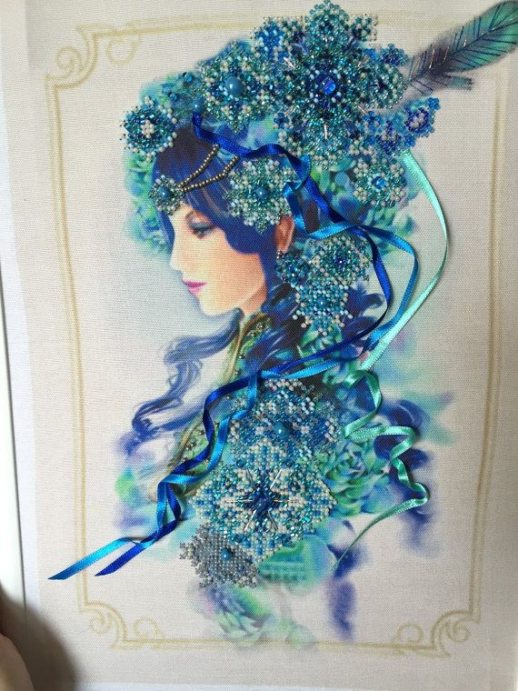 Lady of Winter Beaded Embroidery Design by BestBeadedEmbroidery