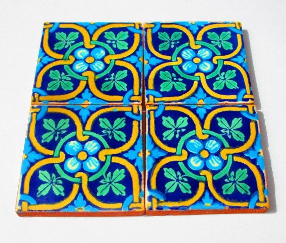 Mexican Tile Tribal Housewares Colorful Coaster House Decor Fiesta On Etsy 12 00