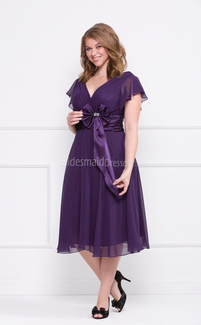 Grape Chiffon Tea-length V-neck A-line Short Sleeve Plus Size ...