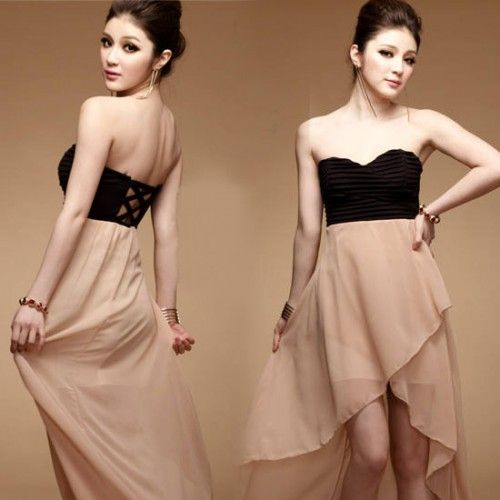 Damen Asymmetric Chiffon Backless Cocktail Party Lange Abendkleid ...