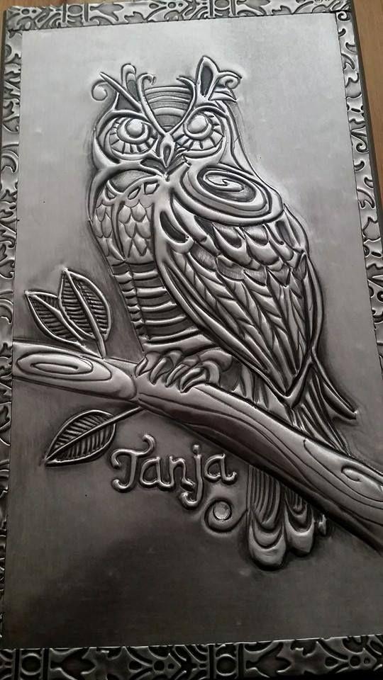 Metal Bas Relief Paintings Tin Landscape
