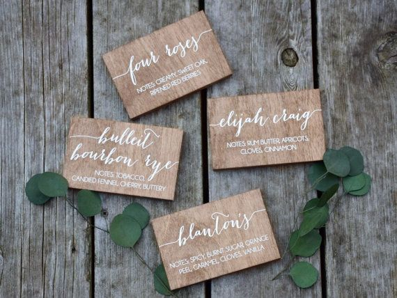 Beverage Food Signs Small Wooden Wedding Signs By Paperandpineco With Images Wedding Signs