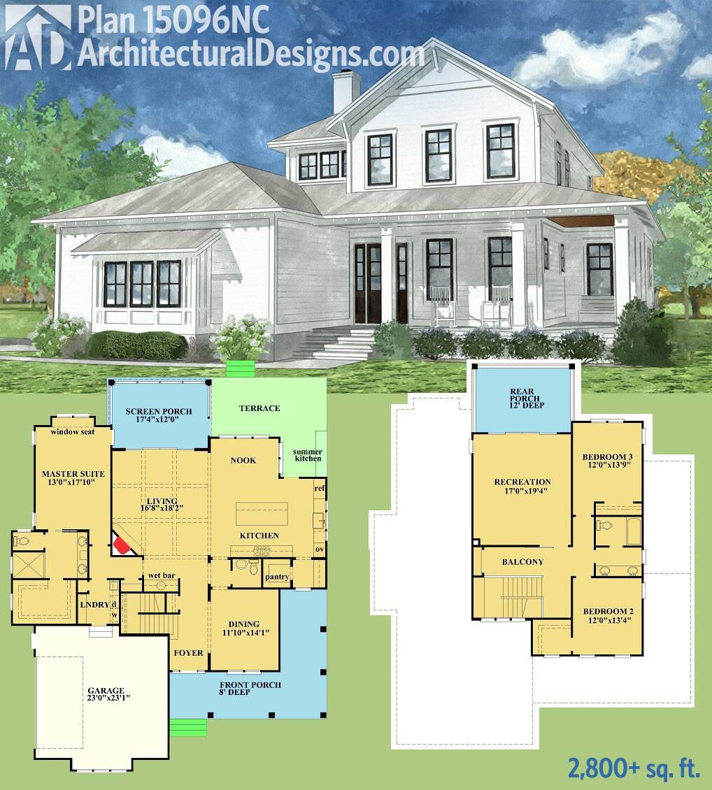Plan 15096nc country home with spacious front and rear Large farmhouse plans