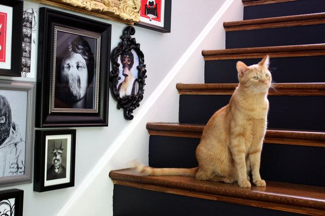 Using every possible space for pictures with a diverse collection of frames.
