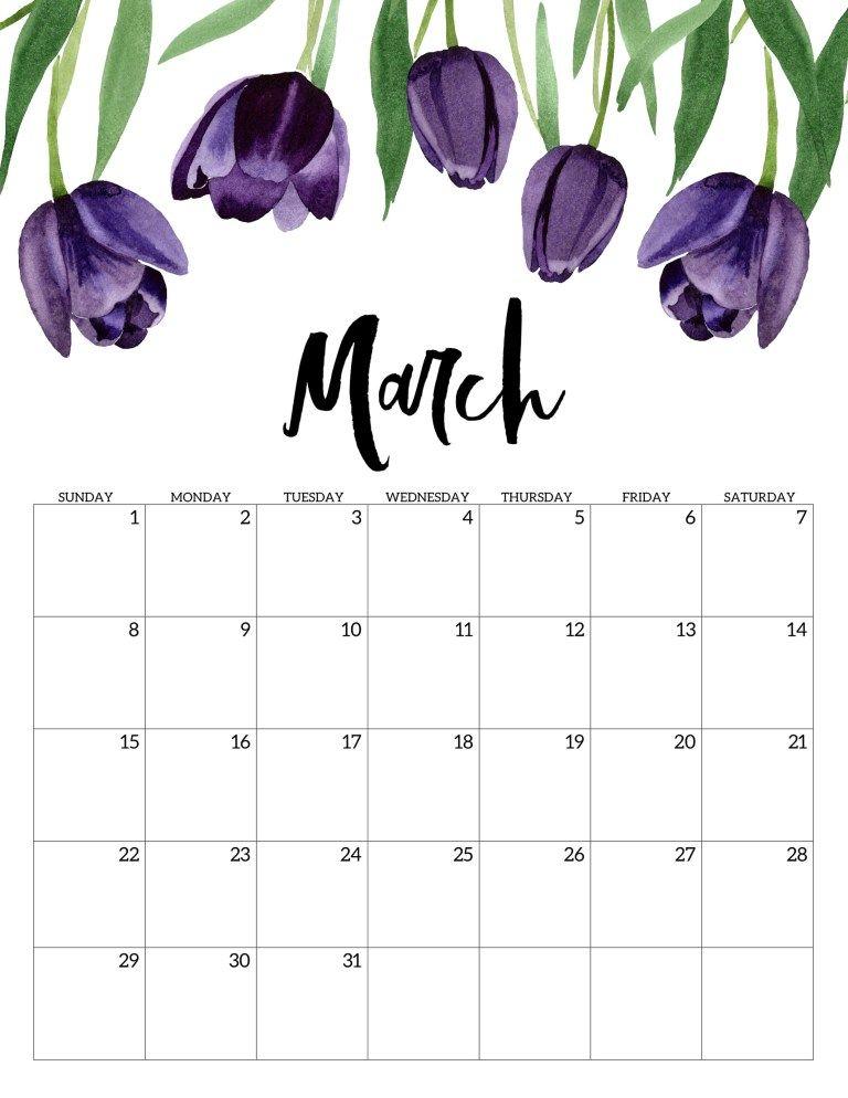 Free Printable March 2020 Calendar.2020 Free Printable Calendar Floral Free Printable