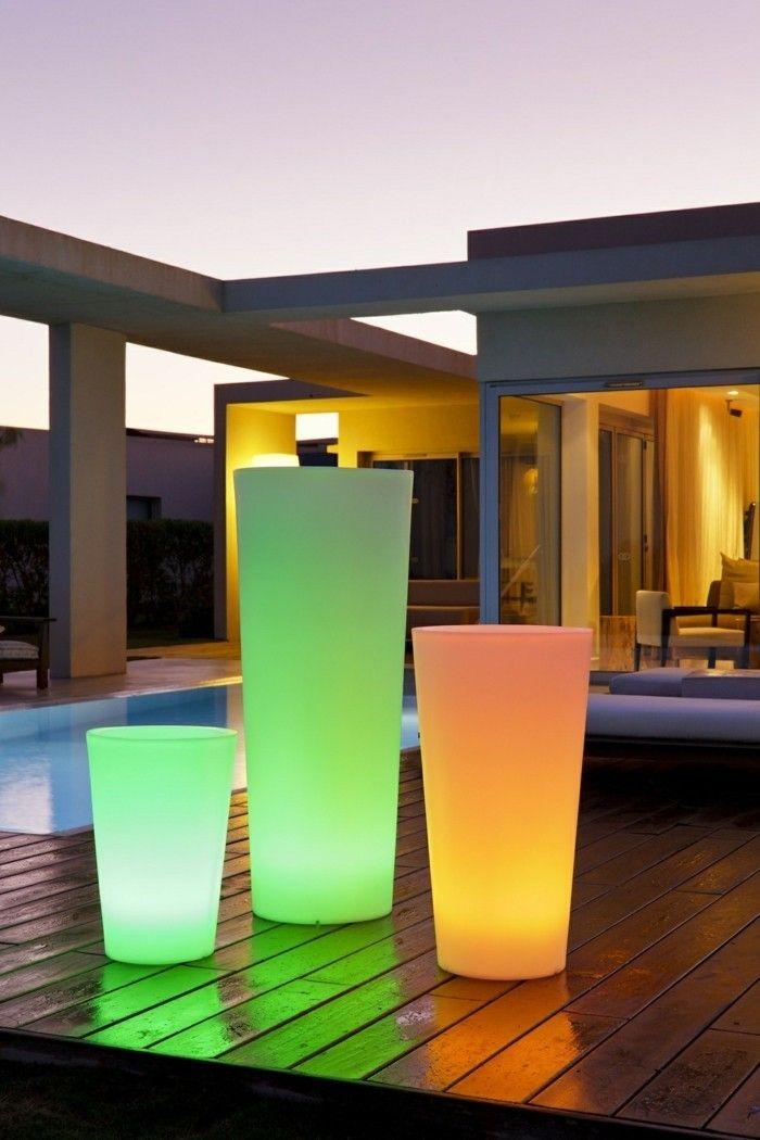 Solar Terrasse gartenbeleuchtung ideen solar lapmen pflanztöpfe terrasse gestalten