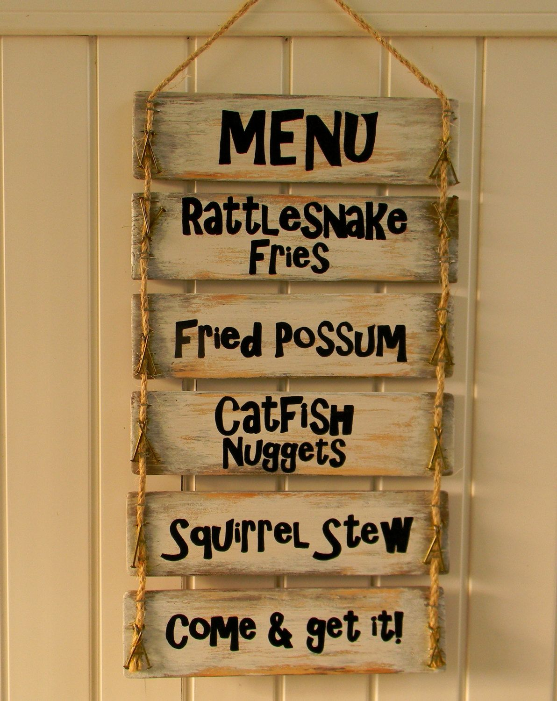 Cabin Menu Sign, Fried Possum, Squirrel Stew,Redneck Menu Sign ...