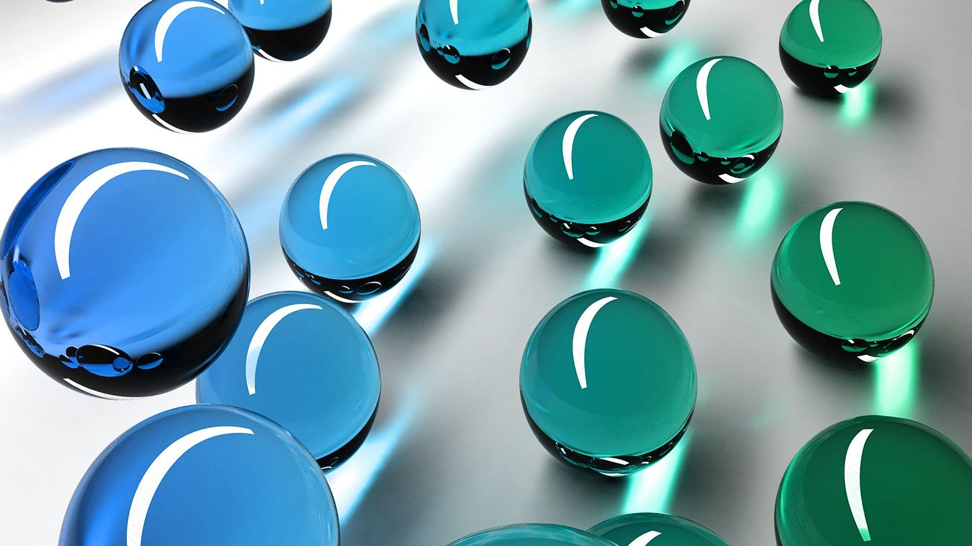 Fond Ecran Abstrait 3d Bille De Verre Bleu Et Vert Wallpaper Hd Billes De Verre Verre Bleu Billes Bleues