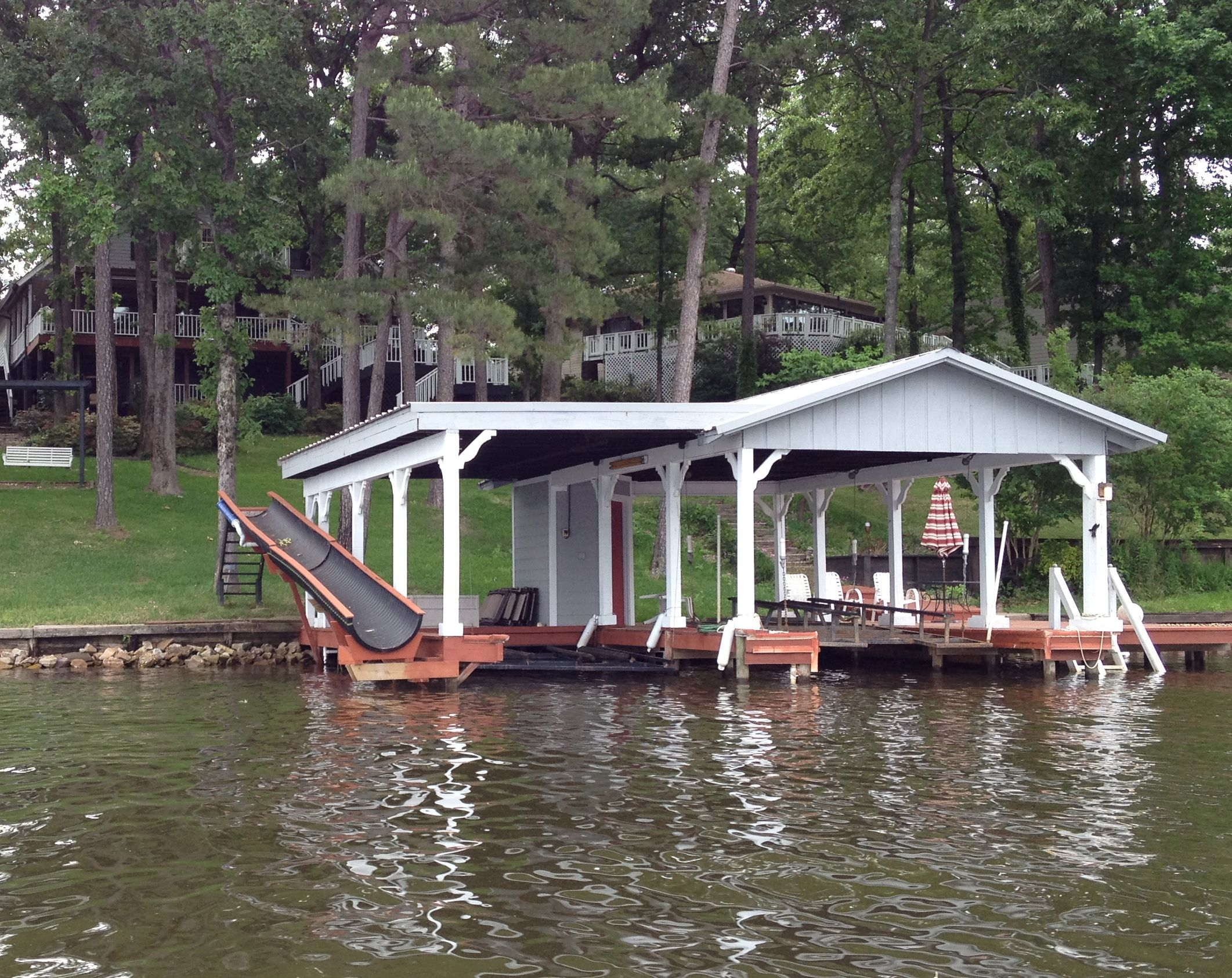 A Dock With A Slide Lake Pinterest Lakes Boat