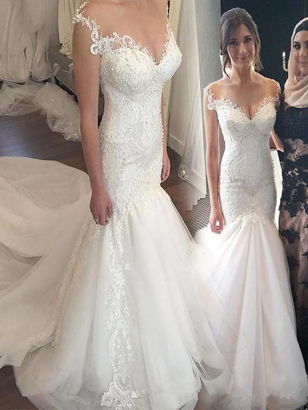 15e2e3d3e4 Cap Sleeves Lace Beaded Mermaid Cheap Wedding Dresses Online