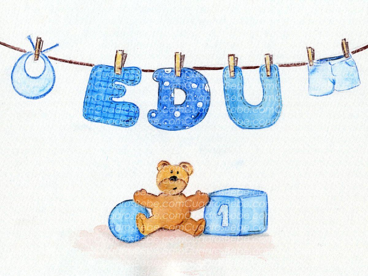 Cuadro bebe letras con nombre en tendedor con babero y - Letras habitacion bebe ...