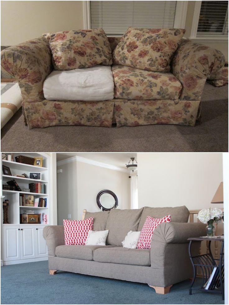 Top 10 refreshing diy re upholstered furniture antes - Tapizar sofa ...