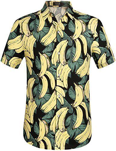 Funky Hawaiian Shirt for Men Short-Sleeve Front-Pocket Hawaiian-Print Every Shirt is a Unique Mix Multidesigns