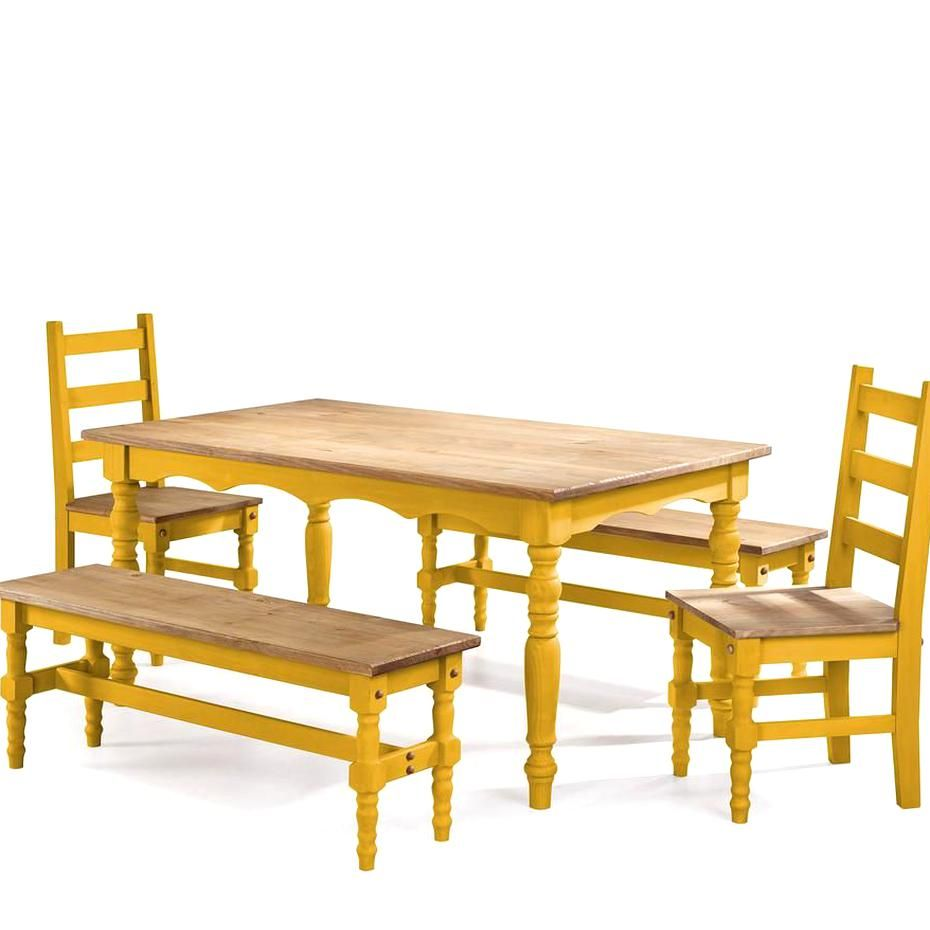 Jay 5 Piece Yellow Wash Solid Wood Dining Set With 2 Benches 2