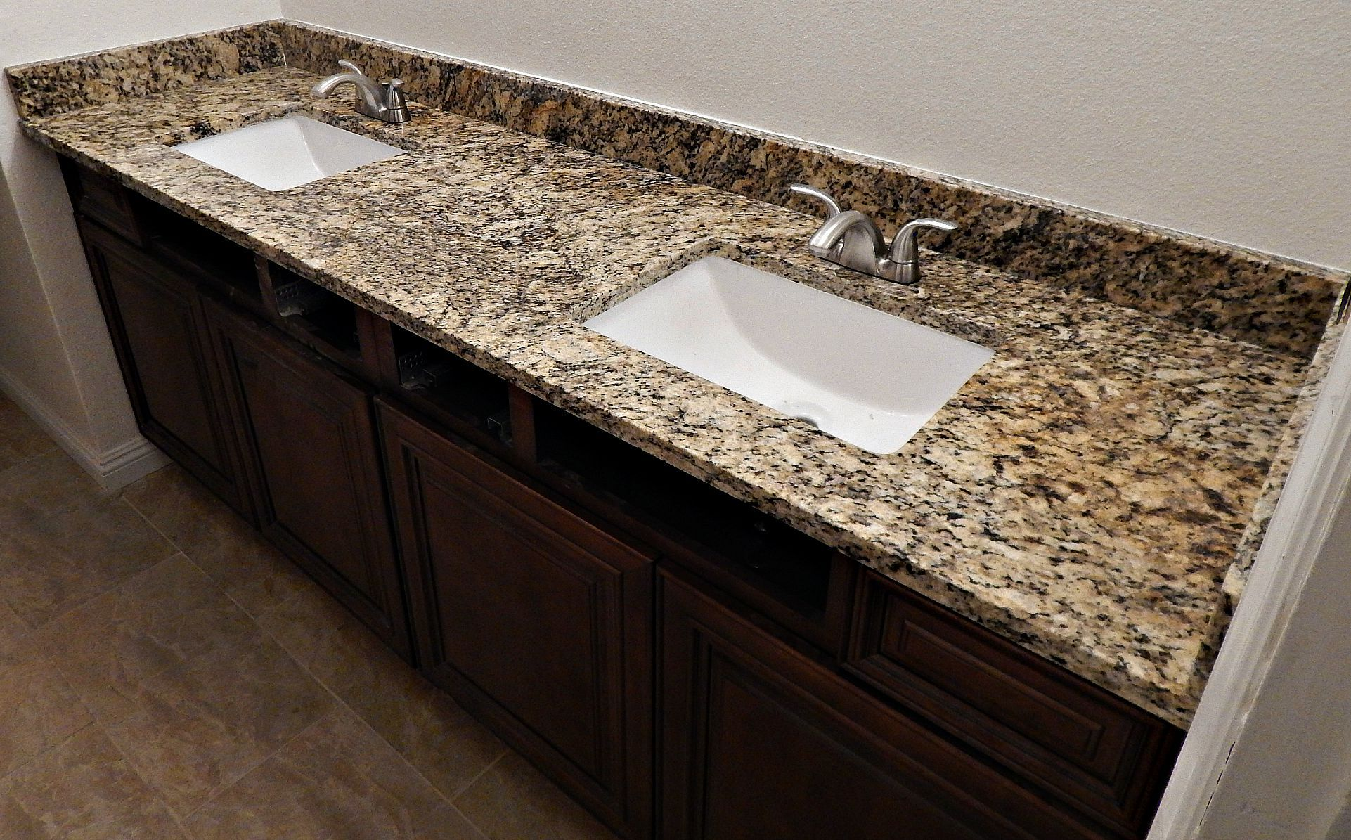 Bathroom with granite countertops - St Cecelia Granite Countertop Remodel With Flat Polish Edge And White Rectangle Under Mount Sinks
